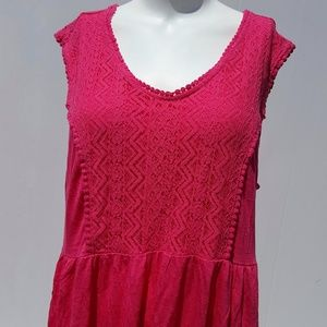 Terra & Sky | Dark Pink Long Tunic Top Size 0X